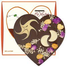 zotter Schokoladen Manufaktur: Weihnachtsherz VEGAN mit Rosen und Monden