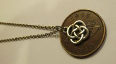 Irish Penny Coin Necklace with Celtic Knot Charm - $14.99