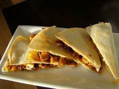BBQ chicken and carmalized onion quesadillas