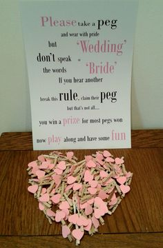 Wedding Peg Table Game ~ Fun game for Wedding, Bridal Shower, Hen Party