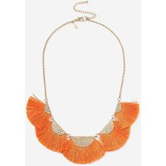 TopShop Fan Fringe Collar Necklace ($28) ❤ liked on Polyvore featuring jewelry, necklaces, orange, orange necklace, topshop necklace, metal jewelry, fringe necklace and collar jewelry