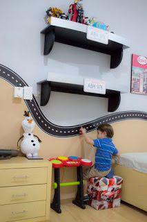 Boys Car Bedroom, Boy Car Room, Kids Bedroom Storage, Shelves In Bedroom, Baby Boy Rooms, Car Bedroom Ideas For Boys, Race Car Room, Car Themed Rooms, Kids Room Paint