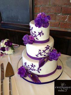 White And Purple Wedding Cakes