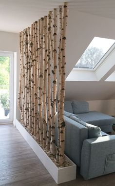 Birch trunks as a room divider- Birkenstämme als Raumteiler Birch trunks as a room divider - Home Projects, Interior, Home Decor, House Interior, Home Deco, Home Diy, Home Interior Design, Interior Design, Diy Home Decor On A Budget