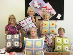 My lovely students with their log cabin cushions - well done girls! Winchester, Presentation, Students, Cushions, Cabin, Colours, Quilts, Create, Girls