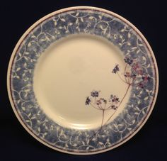 PIER 1 Blueberry Spray Dinner Plate Earthenware England Blue with White Vines #Pier1