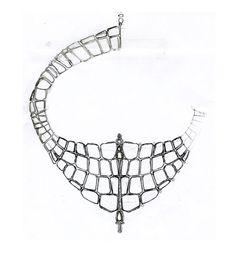 """Le croquis du plastron """"Niloticus"""" d'Hermès http://www.vogue.fr/joaillerie/le-bijou-du-jour/diaporama/le-plastron-niloticus-d-hermes-pierre-hardy/13897#!2"""