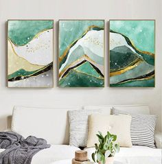 Modern Abstract Golden Green Marble Wall Art Contemporary Nordic Fine Art Canvas Prints For Office Or Home Living Room Wall Decoration - JudeBuxom. Scandinavian Home Interiors, Pineapple Art, Marble Painting, Green Marble, Gold Marble, Marble Wall, Decorating With Pictures, Contemporary Wall Art, Wall Art Pictures