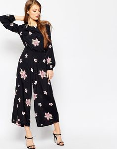 Image 1 of ASOS Jumpsuit with Cut Out Back in Spaced Out Floral Print  Jumpsuit For 128f26edb