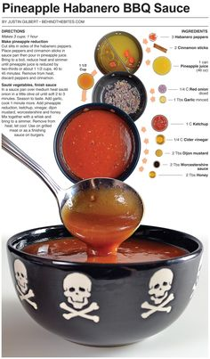 Pineapple Habanero Barbecue Sauce 3 Habanero peppers 2 Cinnamon sticks 1 can Pineapple juice oz) C Red onion diced 1 Tbs Garlic minced 1 C Ketchup C Cider vinegar 2 Tbs Dijon mustard 2 Tbs Worcestershire sauce 2 Tbs Honey Habanero Recipes, Hot Sauce Recipes, Barbecue Sauce Recipes, Bbq Sauces, Pineapple Habanero Sauce, Pineapple Juice, Grilling Recipes, Chile Picante, Marinade Sauce