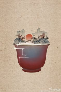 Summer ice dessert that is made of chinese shanshui and chinese porcelain by 呼葱觅蒜. Dessert Illustration, Graphic Illustration, Chinese Landscape, Asian Design, China Art, Chinese Painting, Illustrations And Posters, Japanese Art, New Art