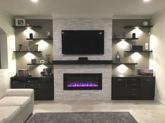 18 ideas for living room tv wall decor ideas fireplaces Living Room With Fireplace, New Living Room, Home And Living, Tv Wall Ideas Living Room, Modern Living, Living Room Shelves, Living Room Wall Lighting, Electric Fireplace With Mantle, Kitchen With Living Room