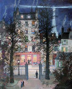 Michel Delacroix  A la belle saison. Acrylic on canvas. 16″ x 13″