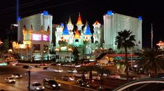 Excalibur hotel is prettiest at night