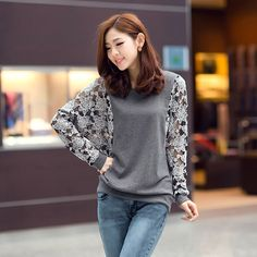 >> Click to Buy << 2014 New O-neck Full Cotton Patchwork Hollow Out Autumn Lace Long-sleeve T-shirt Female Loose Women's Top Basic Shirt #Affiliate