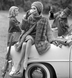 Sondra Peterson wearing Christian Dior, photo by Henry Clarke, Vogue France, October 1960 / My kind of picnic...
