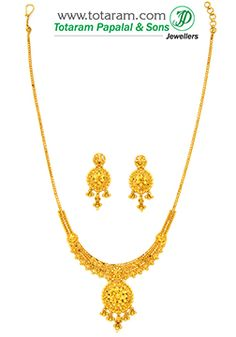 22K Gold Necklace & Earrings Set - GS2676 - Indian Jewelry from Totaram Jewelers