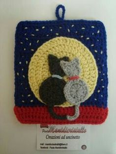 Crochet Potholder Patterns, Crochet Cat Pattern, Crochet Blocks, Crochet Art, Crochet Squares, Crochet Home, Crochet Motif, Crochet Animals, Crochet Designs