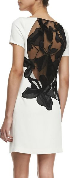 Halston Heritage Crepe Cap-Sleeve Floral Inset Sheath Dress