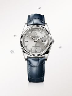 Rolex Watches New Collection : The Day-Date 36 in white gold, with a diamond-set silver dial and blue leather s. - Watches Topia - Watches: Best Lists, Trends & the Latest Styles Lux Watches, Luxury Watches For Men, Cool Watches, Fashion Watches, Diamond Watches, Ladies Watches, Casual Watches, Rolex Day Date, Brighton Jewelry
