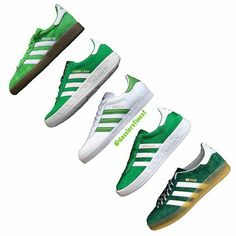 Brilliant photo of green and white adidas trainers - from top left to bottom right - Spezial, Trimm Trab,  Gazelle, Munchen and Gazelle