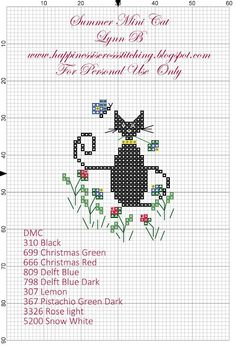 Happiness is Cross Stitching : Freebie Friday - Summer Cat Cross Stitch Pattern