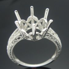 STERLING SILVER 925 SEMI MOUNT ENGAGEMENT RING SETTING ROUND 9.5mm