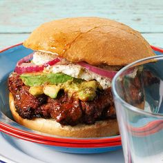 Chorizo-Chile Burger  We mixed chorizo pork sausage and ground beef to make a burger that's bursting with flavor. But we didn't stop there -- our avocado-and-poblano spread adds spicy creaminess with hints of cilantro and lime.  Chorizo-Chile Burger