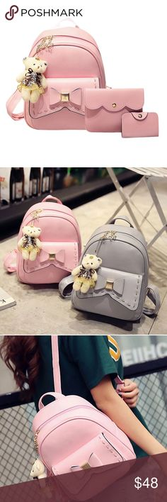Back To School  3pcs Women PU Leather Bowknot Bags Pre-Order This 3 Backpack & Crossbody Bag & Card Holder.  Main MaterialPU DecorationBow Pattern TypeSolid Backpacks TypeSoftback Closure TypeZipper Lining MaterialPolyester Carrying System Shoulder Strap Handle/Strap TypeSoft Handle Material: PU Leather  Lining material: Polyester cotton.   Backpack Size: Approx. 280x240x110mm/11.02x9.44x4.33in  Crossbody Bag Size: approx. 180x140x10mm/7.08x5.51x0.39in  Card Holder Size: approx…