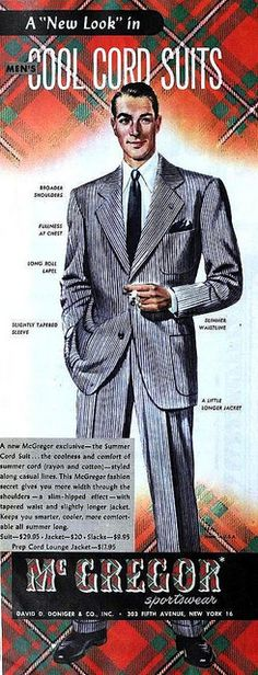 """A """"New Look"""" in Men's Cool Cord Suits by McGregor Sportswear, April 1948. #vintage #1940s #menswear"""