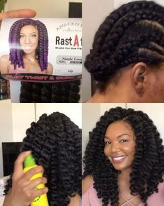 I'm back with crochet braids, and this time I'm using RastAfri's Flat Twist and Curl. The hair comes pre-twisted. So you can either wear it as twists, or a hair styles Crochet Braids using RastAfri - Dominique's Vanity Corner Box Braids Hairstyles, African Hairstyles, Elegant Hairstyles, Hairstyle Ideas, Diy Crochet Hairstyles, Hairstyles 2016, Celebrity Hairstyles, Curly Crochet Hair Styles, Braid Styles