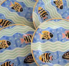 4 Vintage Princeton Studios Catalina 9130 Salad Plates Fish Beach Sea Life…