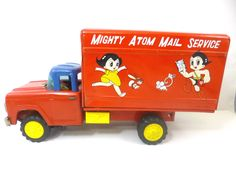 1960's Mighty Atom Mail Service Friction Tin Toy Truck Vehicle