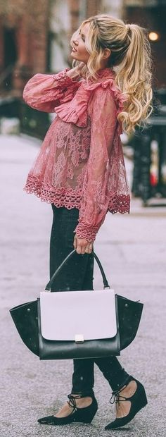 Pink Lace Blouse, Skinny Denim, Black And White Celine Bag, Black Lace Up Wedges | Barefoot Blonde
