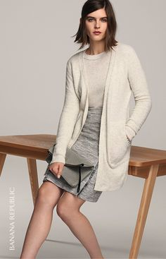 Pair our extra fine Merino wool boyfriend fit cardigan with a pencil skirt for an effortlessly chic look | Banana Republic