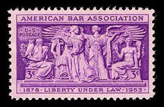 This stamp was issued to commemorate the 75th anniversary of the American Bar Association. The stamp's central design is part of a frieze that appears on the wall of the Supreme Court chambers.