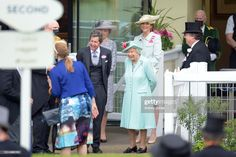 Queen Elizabeth II (C) and John Warren (L) watch as horses are led into the parade ring during Royal Ascot 2021 at Ascot Racecourse on June 19, 2021 in Ascot, England. (Photo by Antony Jones/Getty Images for Royal Ascot) Epsom Derby, Royal Ascot, Queen Elizabeth Ii, British Royals, Sequin Skirt, Horses, Led, Ascot England, Watch