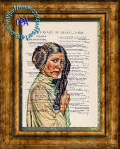 Princess Leia with Lazer Gun Wild Colors Kitsch Art - Beautifully Upcycled Vintage Dictionary Page Book Art Print by CocoPuffsArt on Etsy