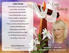 Funeral program template. Cross Theme Memorial Service Template. Find more printable funeral cards at http://funeralpamphlets.com