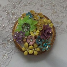 Powder Compact mirror, Luxurious, Victorian Flower Garden Jeweled Top, Bridal Beautiful, Noir Couture Makeup Accessory