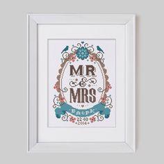 Mr & Mrs - Customisable Wedding Cross Stitch Pattern (Digital Format - PDF) by Stitchrovia on Etsy https://www.etsy.com/listing/186922226/mr-mrs-customisable-wedding-cross-stitch
