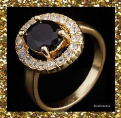 NEW - STUNNING BLACK STONE GOLD FILLED CRYSTAL CUBIC ZIRCONIA RING SIZE 7