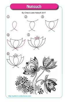 Tangle pattern Nunsuch - Zendoodle Zentangle Doodle Art Pen and Ink Drawing #tanglepattern #Zentangles