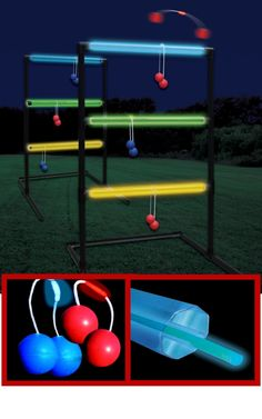 Night party - Make glow in the dark games for kids + adults. Ring toss, corn hole, badminton, etc. Supply white t-shirts and glow in the dark markers. #Party #Summertime