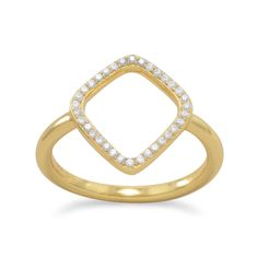 18 Karat Gold Plated Signity CZ Kite Design Ring