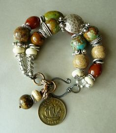 Lost Bracelet with Natural Turquoise beads, Picture Jasper, Carnelian, Howlite & Silver by pmdesigns09, $73.00