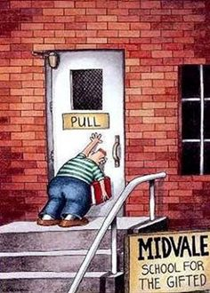 Classic.  What I think of every time I try to open a door the wrong way!