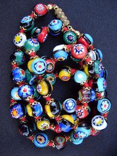 "Vintage Venetian Millefiori Murano Glass Bead Necklace 23"" | Jewelry & Watches, Vintage & Antique Jewelry, Costume | eBay!"