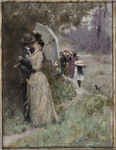 The Kiss (A Kiss under Parasol), ca. 1890–1899, oil on paperboard, 38.5 x 30 cm, by Ludwig (Ludek) Marold (Czech, 1865–1898); http://www.artnet.com/artists/ludwig-ludek-marold/the-kiss-EYuVHxubGF42DSCTQfewMQ2