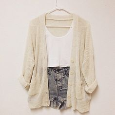 Cardigan shorts cropped tank